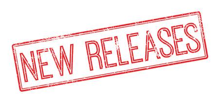 d�livrance: Nouveaut�s de timbre en caoutchouc rouge sur fond blanc. Imprimer, impressionner, overprint. Illustration