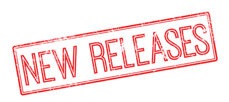 New Releases red rubber stamp on white. Print, impress, overprint.