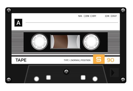 casete retro plástico de audio, música en cassette, cinta de cassette. Aislado en el fondo blanco. Ilustración realista de la vieja tecnología. cinta de la vendimia. Ilustración de vector