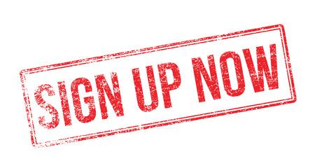 Sign Up Now. Red rubber stamp on white. Print, impress, overprint. Vektorové ilustrace