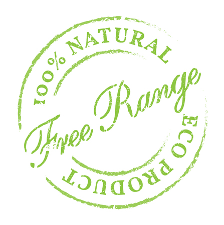 product range: Free Range natural product eco stamp. Disstressed natural rubber stamp on white background. Sign for fresh and healthy natural product. Illustration