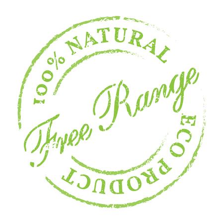 gamme de produit: Free Range produit naturel eco stamp. Disstressed tampon en caoutchouc naturel sur fond blanc. Connectez-vous pour le produit naturel frais et sain.
