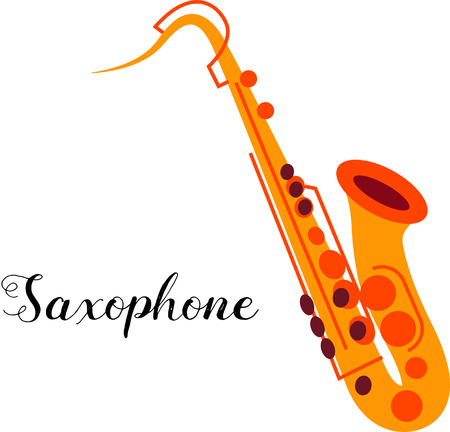 tenor: Saxophone musical instrument. Illustration of a saxophone. Tenor saxophone isolated on white background. Yellow saxophone. Illustration