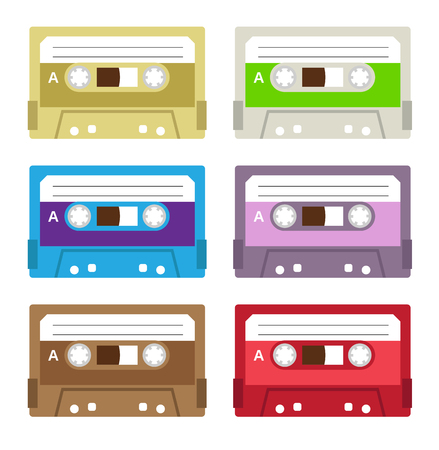 cassette tape: Collection of retro plastic audio cassettes, music cassettes, cassette tapes. Isolated on white background. Vintage cassette tape icons.