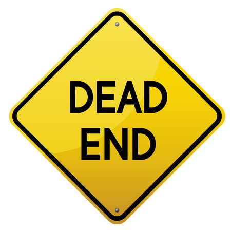 end of road: Dead End road sign. Yellow glossy road sign on white background.Vector scalable image.