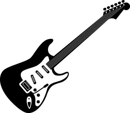 E-Gitarren-Symbol schwarz auf weiß. Eine detaillierte Ikone der E-Gitarre auf weißem Hintergrund. Gut für Print und Web Symbol einer Gitarre.