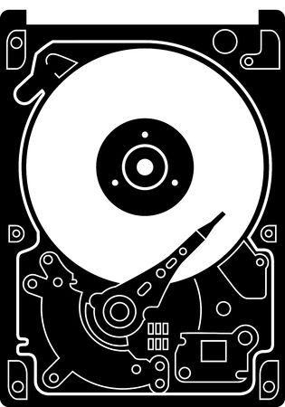 hard drive: Hard Drive Disk icon black on white. Black detailed icon of a hard drive disk isolated on white background. Very precise illustration of hard drive disk, HDD.