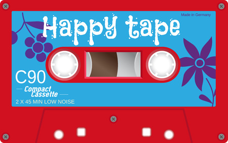 casete retro plástico de audio, música en cassette, cinta de cassette. Aislado en el fondo blanco. Ilustración realista de la vieja tecnología. cinta de la vendimia.