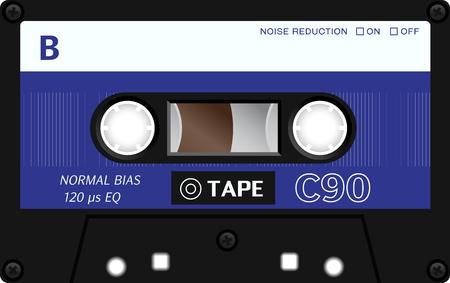 single songs: Retro plastic audio cassette, music cassette, cassette tape. Isolated on white background. Realistic illustration of old technology. Vintage tape.