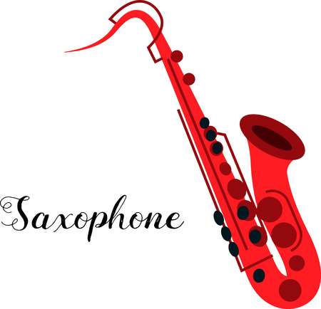 tenor: Saxophone musical instrument. Illustration of a saxophone. Tenor saxophone isolated on white background. Red bright saxophone.