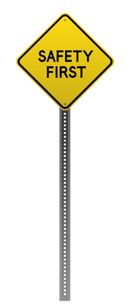 detailed image: Safety First yellow road sign on white background.Vector scalable detailed image. Illustration