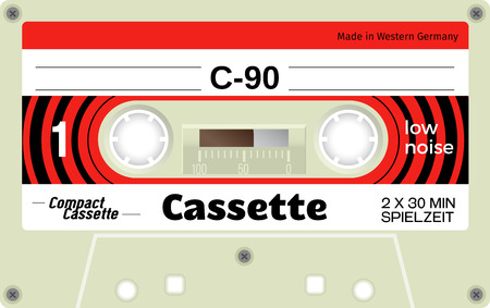 analogical: Retro plastic audio cassette, music cassette, cassette tape. Realistic illustration of old technology. Words in german present meaning cassette playing time. Illustration