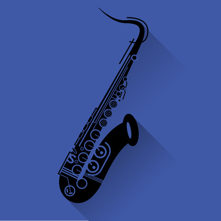 concert band: Saxophone instrument icon, flat style. Saxophone black on yellow background. Jazz music concept, saxophone icon for UI and web in blue. Illustration