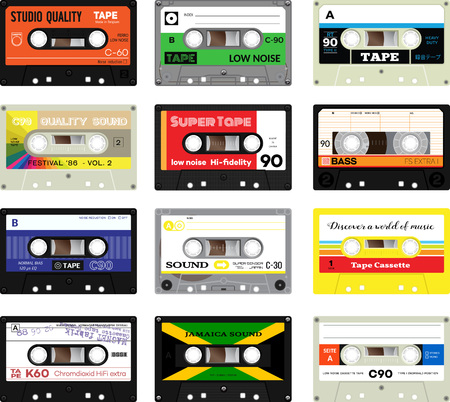 production plant: Retro plastic audio music cassette. Realistic illustration of old technology. Words in german present, meaning cassette type, cassette tape production plant, high quality. And japanese words meaning cassette tape.