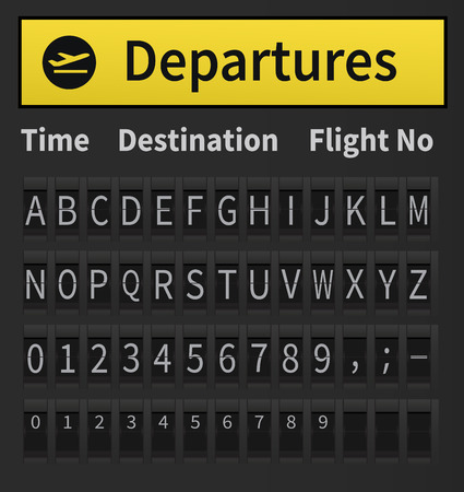 airport arrival: Airport arrival and departure display alphabet. Template ready to put together words and numbers. Mechanical display alphabet, airport style. Very detailed and precise illustration of timetable alphabet.
