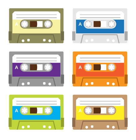 cassettes: Collection of retro plastic audio cassettes, music cassettes, cassette tapes. Isolated on white background. Vintage cassette tape icons.
