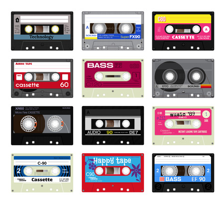 analogical: Retro plastic audio cassette, music cassette, cassette tape. Isolated on white background. Realistic illustration of old technology. Words in german present, meaning low noise, cassette play time and side.