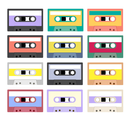 cassettes: Collection of retro plastic audio cassettes, music cassettes, cassette tapes. Isolated on white background. Old technology tape cassettes.