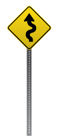 Winding road sign on white background.Vector scalable detailed image. Vettoriali