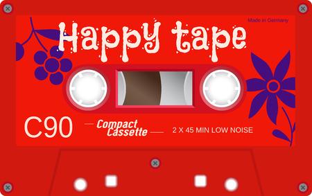 Retro-Kunststoff-Audio-Kassette, Musikkassette, Kassette. Isoliert auf weißem Hintergrund. Realistische Darstellung der alten Technologie. Vintage-Band.