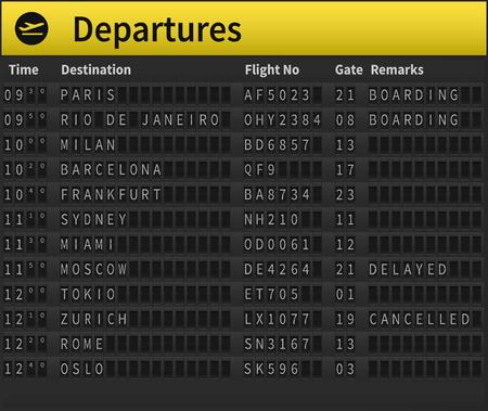 calendrier aéroport montrant des destinations de départ. destinations dans le monde présentés, y compris Zurich, Moscou, Londres, Sydney et d'autres. illustration très détaillée de l'horaire de l'aéroport. Vecteurs