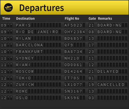 Airport timetable showing departure destinations. Worldwide destinations shown, including Zurich, Moscow, London, Sydney and others. Very detailed illustration of airport timetable. Illustration
