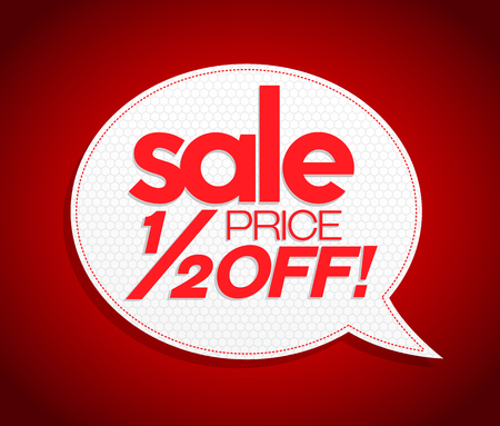 half price: Sale tag in speech bubble form, realistic design. Half price off sign. Modern vibrant red price coupon poster style. Sale, sale, sale!