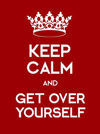 guardar silencio: Mantener la calma y Ger sobre sí mismo cartel. cartel rojo clásico con la corona. Vectores