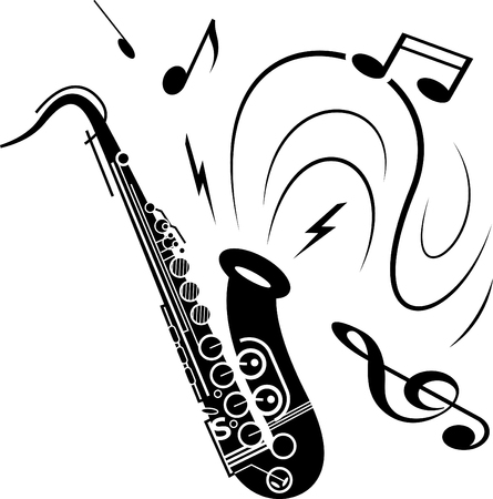 Saxophone music illustration black on white. Black saxophone with music notes spraying out of instrument. Image of saxophone music playing.