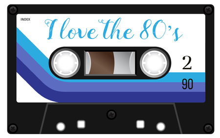 analogical: Vintage plastic tape cassette. Audio cassette tape with text -  I love the eighties. Retro technological, realistic design. Illustration isolated on white background.