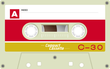 analogical: Retro plastic audio cassette, music cassette, cassette tape. Isolated on white background. Realistic illustration of old technology. Vintage tape.