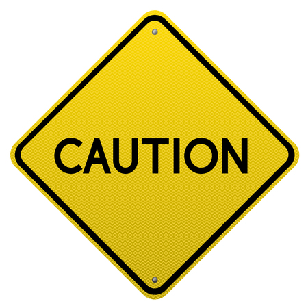 detailed image: Caution yellow road sign on white background.Vector scalable detailed image. Illustration