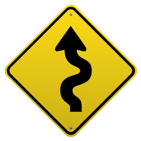 Kronkelige weg teken wit background.Vector afbeelding schaalbare gedetailleerd op.