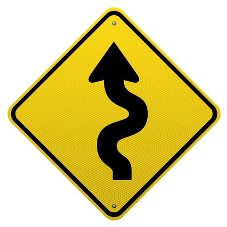 Winding road sign on white background.Vector scalable detailed image.