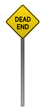 detailed image: Dead End road sign. Yellow road sign on white background.Vector scalable highly detailed image. Illustration