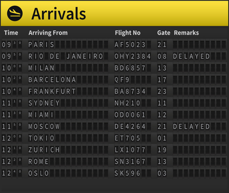 indicator board: Airport timetable showing arrival times. Worldwide arrivals shown, including Zurich, Moscow, London, Sydney and others. Very detailed illustration of airport timetable.