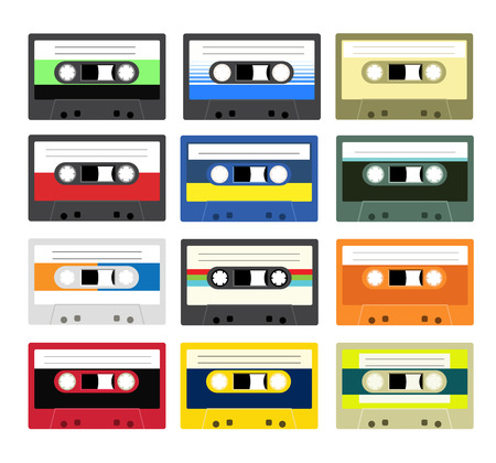 walkman: Collection of retro plastic audio cassettes, music cassettes, cassette tapes. Isolated on white background. Old technology tape cassettes.