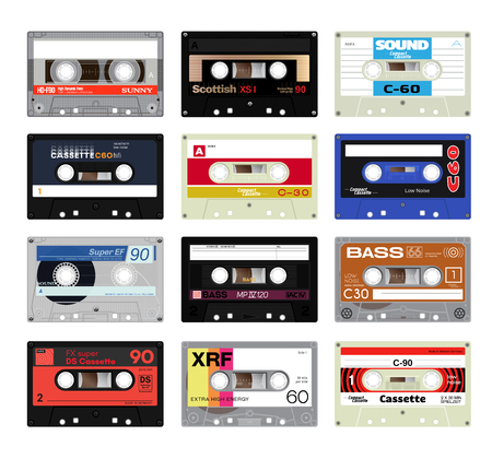 electronic 80s: Retro plastic audio cassette, music cassette, cassette tape. Isolated on white background. Realistic illustration of old technology. Words in german present, meaning low noise, cassette play time and side.