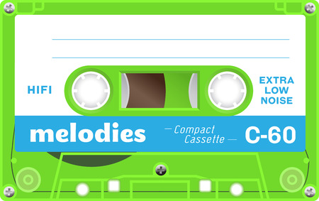 electronic 80s: Retro plastic audio cassette, music cassette, cassette tape. Isolated on white background. Realistic illustration of old technology. Vintage tape.