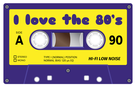 eighties: Vintage plastic tape cassette. Audio cassette tape with text -  I love the eighties. Retro technological, realistic design. Illustration isolated on white background.