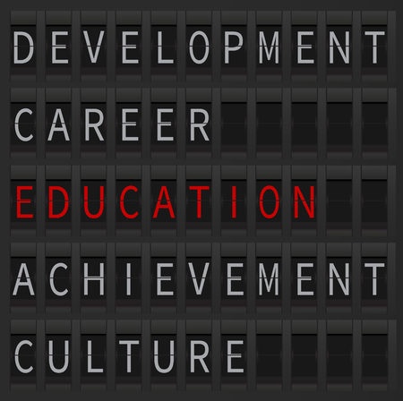 apprehension: Education concept as a departure goal. Education word displayed at airport style board. Education and career, development and culture.