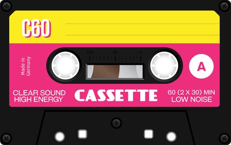 Retro plastic audio cassette, music cassette, cassette tape. Isolated on white background. Realistic illustration of old technology. Vintage tape. Фото со стока - 58037849