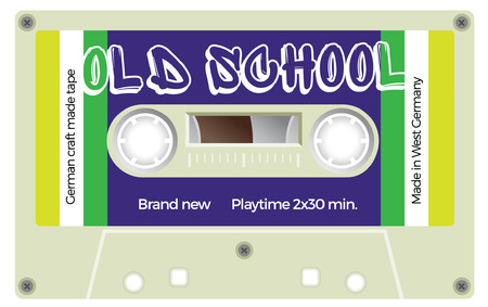 analogical: Vintage plastic tape cassette. Audio cassette tape with text - Old school. Retro technological, realistic design. Illustration isolated on white background.