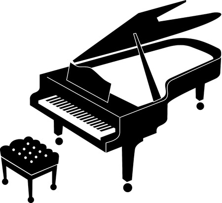 grand open: Black and white icon of an open grand piano and stool for a musician. Grand piano black icon suitable for print and web. Realistic icon of grand piano. Illustration