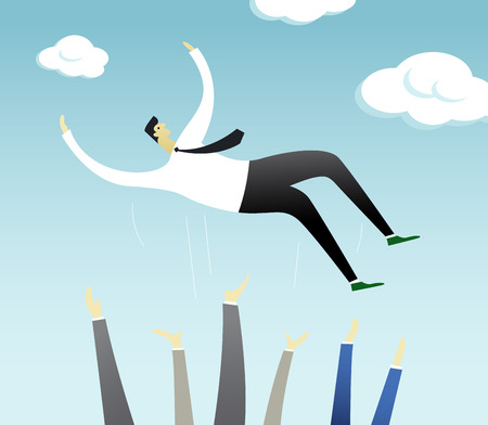 raise the thumb: Successful businessman is thrown into the air by colleagues after successful business achievement. Happy successful businessman enjoying his triumph. Bright sunny day celebrates his victory. Illustration