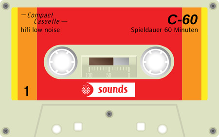 analogical: Retro plastic audio cassette, music cassette, cassette tape. Realistic illustration of old technology. Words in german present meaning cassette playing duration. Illustration