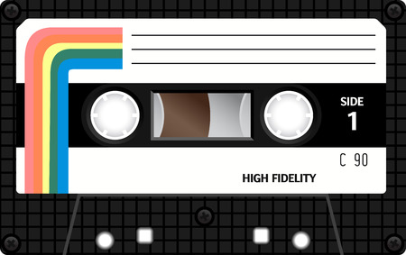 Retro plastic audio cassette, music cassette, cassette tape. Isolated on white background. Realistic illustration of old technology. Vintage tape. 版權商用圖片 - 58037902
