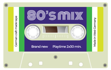 Vintage plastic tape cassette. Audio cassette tape with text - Eighties mix. Retro technological, realistic design. Illustration isolated on white background.