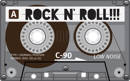 Vintage transparent plastic tape cassette. Yellow audio cassette tape with text - rock and roll. Retro technological, realistic design. Illustration isolated on white background.