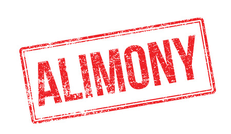 remittance: Alimony red rubber stamp on white. Print, impress, overprint. Illustration